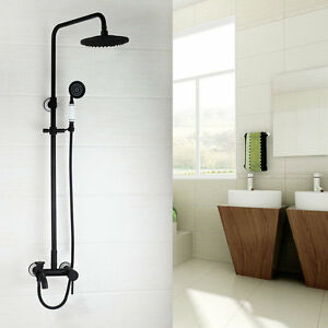 Bathroom Shower faucet Set Oil Rubber Bronze Rainfall Spout Wall Mount Mixer Tap