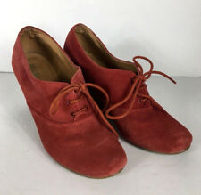 520fca13ade Chelsea Womens Slip On Wedge Lace Up Shoes Boots Sz 7 Rust Red Suede Leather