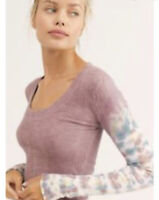 New We The Free People S Big Sur Long Sleeve Misty Mountain Pink Tie Dye NWT
