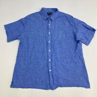 Claiborne Button Up Shirt Mens XXL Slim Fit Linen Blend Blue Short Sleeve Casual