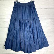 Vtg Citlali Denim Tiered Maxi Skirt Broomstick Boho Women's L Made In USA