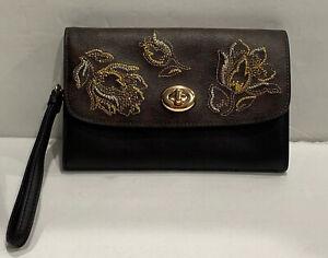New Coach Mini Crossbody Signature Leather Black/Brown Gold Clutch Wristlet Bag