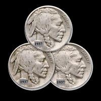 1937 P D S 5c Indian Head Buffalo Nickel 3 Coin Lot Three Mint Mark Set