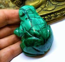 Selten Natürlich Grün Malachit Edelstein Kristall Frosch Tier Schnitzen 1000cts