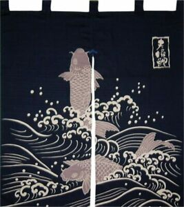 "Japanese Noren Curtain Home Business Tapestry 35.5"" Black CARP Koi Made in Japan"