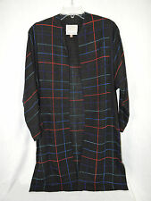 ZONDA NELLIS  Black Red Blues Handwoven Long Jacket Size XS Rayon Neiman Marcus