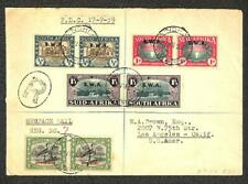 SOUTH WEST AFRICA SCOTT B9-11 & O13 STAMPS REGISTERED FDC FIRST DAY COVER 1939
