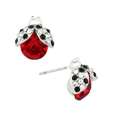 Ladybug Fashionable Earrings - Stud - Sparkling Crystal