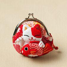 Japanese Silk cute Lucky Cat Maneki Neko Coin Change Wallet Purse Bag red gift