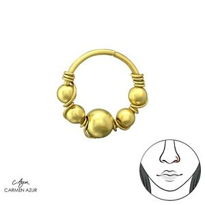 18ct Gold & Solid 925 Sterling Silver Bali Design Nose Ring 8mm New inc Gift Bag
