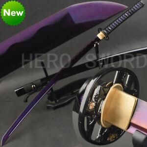 Handmade Purple T1095 High Carbon Steel Katana Muramasa Japanese samurai sword