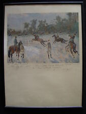 Andre hambourg lithographie equestre jockey entrenement chevaux  dessin