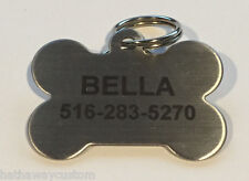 Custom Personalized Stainless Steel Bone Dog Tag Cat Tag Pet ID Tag Name Tag