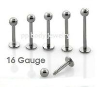 """1PC 16G~1/4"""" to 5/8"""" 316L Surgical Steel Cheek Labret Monroe Tragus Piercing"""