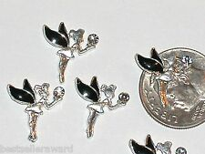 2pc. Miniature dollhouse tiny Flatbacks crystal nail Fairy Pixie black * 12x15mm