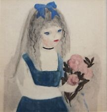 MARIE LAURENCIN-French Modernist-Original WC- Girl w Blue Ribbon & Pink Flowers
