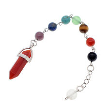 Crystal Pendulum 7 Chakra Stone Reiki Quartz Pendant Spiritual Dowsing Necklace