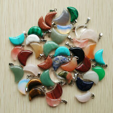 Wholesale 50pcs/lot Assorted Natural Stone mixed Moon Shape charms Pendants
