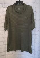Nike Performance Men's Polo Golf Shirt - Olive Green White Stripe - XXL/2XL