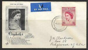 """1953 Southern Rhodesia FDC """"Elizabeth II Coronation"""" issue #80"""