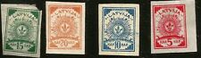 1919 LATVIA ARMS FIRST IMPERFORATE MINT STAMPS AS PER SCAN