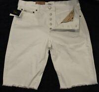 Polo Ralph Lauren Womens White Denim Cut-Off Bermuda Shorts NWT $89 Waist 28