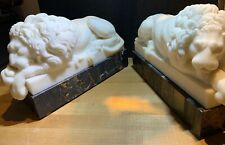VINTAGE MID CENTURY PAIR OF CAST MARBLE CANOVA LIONS ON CUT BLACK MARBLE BASES