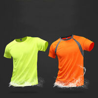 Mens Breathable T Shirt Quick Dry Athletic Wicking Cool Running Gym Sports Tops