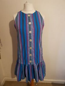 Vintage 1980s Size 14 Blue Stripy Disco Knee Length Dress With Flouncy Skirt