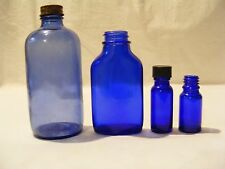 COBALT BLUE BOTTLES - LOT OF 4 - 1 PHILLIPS MAGNESIA - 3 UNKNOWN
