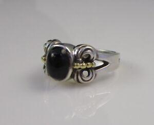 Estate Vintage LAGOS CAVIAR Sterling Silver & 18k Yellow Gold Black Onyx Ring