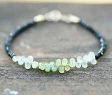 Natural Black Spinel Tiny Briolette Ombre Green Sapphire Bracelet Solid 14K Gold