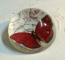 Presse papier / sulfure en verre décor de papillon rouge diametre 10 cm