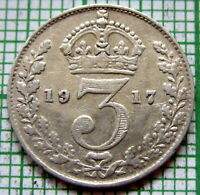 GREAT BRITAIN GEORGE V 1917 THREEPENCE 3 PENCE, 0.925 SILVER