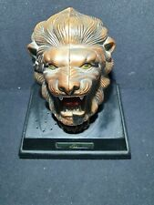 More details for brass effect roaring lion desk lighter good condition and working battery