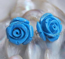 12mm Blue Sea Coral Hand Carved Rose Flower Earrings Silver Stud AAA Grade