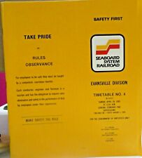 RAILROAD TIMETABLE EMPLOYEE SEABOARD SYSTEM #4 EVANSVILLE  DIVISION 28 Apr 1985