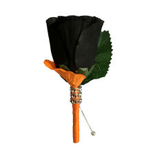 Halloween Boutonniere - Fall Colored Black Rosebud Buttonhole
