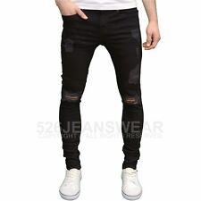 Enzo Mens DESIGNER Branded Ripped Stretch SKINNY Slim Fit Denim Jeans Pants