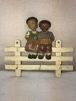Vtg Carved Wood Boy Girl Nodder Picket Fence Pot Holder Hot Pad Key Hanging Hook