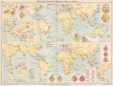 Mundo. tabaco, drogas & Especias producción. USA La India Japón Java 1925 Mapa Antiguo