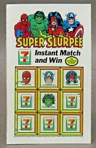 1981 Marvel SUPER SLURPEE 7-Eleven SCRATCH OFF TICKET Spiderman Hulk Spider Woma