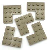 Lego 5 New Dark Tan Plates 4 x 4 Dot Corner Parts