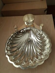 ONEIDA Silver Plated  Scaloped Shrimp Cocktail Clam Shell Bowl-Toothpick.Holder