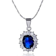 "18"" Sparking Silver Opal Cut Created Blue Sapphire Pendant Necklace Gift Box P25"