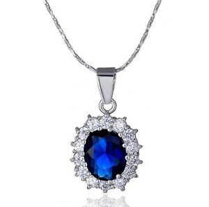 """18"""" Sparking Silver Opal Cut Created Blue Sapphire Pendant Necklace Gift Box P25"""