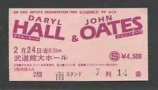 Original 1984 Hall & Oates concert ticket stub Nippon Budokan Tokyo Japan