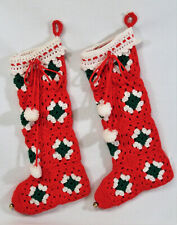 2 Vtg Large Granny Square Handmade Crochet Christmas Stockings Red White Green
