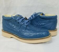 Mens Blue Crocodile Ostrich Western Shoe Sneakers Real Exotic Leather Size 8.5