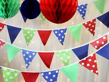 Circus Party Bunting, Red Blue Green spots, Weddings, Baby showers, 10metres